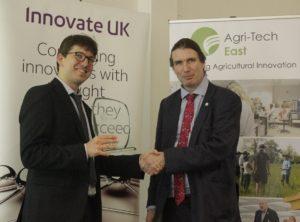 David Godding (Farming Data) receives his award from Howard Partridge (Innovate UK)