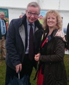 Michael Gove meets Belinda Clarke at the Royal Norfolk Show Innovation Hub 2017