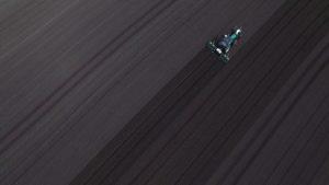 Robocrop Inrow Weeder at work aerial shot